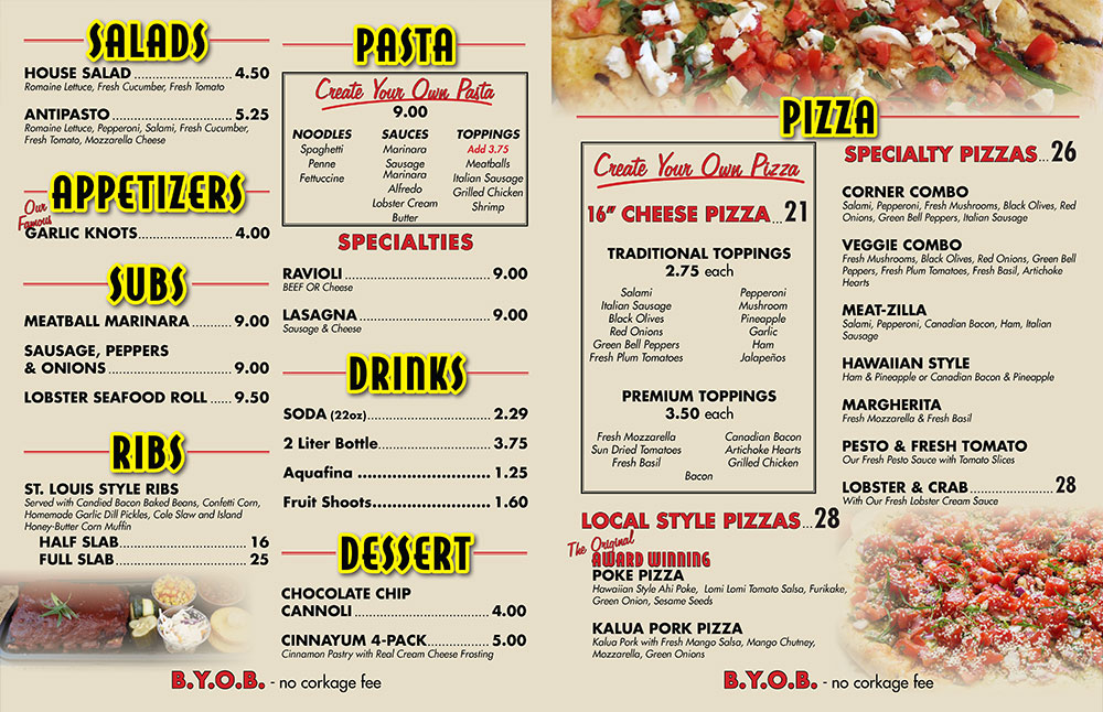 Pizza Corner Hawaii Menu
